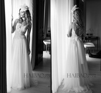 Cheap Lihi Hod 2015 Boho Wedding Dresses Sexy Spaghetti Straps Lace Low Open Back Wedding Ball Gowns Garden Spring Vestido de Novia Bridal Dress