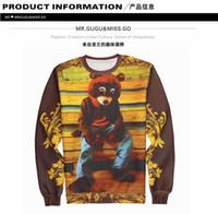 bear wear - Sweatshirt D Printing Cute Bear Design Thin Round Neck Fleece Sweatshirt For Lover Long Sleeve Pullover Style Spring Fashion Wear J160137
