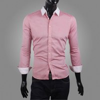 Wholesale 2014 New men s Autumn solid color shirt slim fit cotton male men dress ahirts fashion long sleeve shirt M XXL