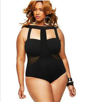 Wholesale Black Plus size Lady Swimwear Stretch Bodysuit Party Leotard sexy Bikini One pieces Swimsuit Hot Selling new style