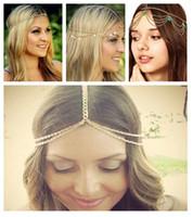 Wholesale 4 Designs Mix Beach MultiLayer Head Chain Hair Jewelry Tassel Pearl turquoise Bindi hair accesories Boho Headband Wedding Bridal Hair ZL