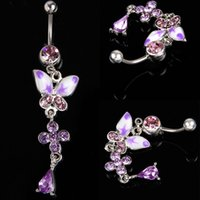 Wholesale Hot Sale Fashion Steel Rhinestone Butterfly Ball Button Barbell Bar Belly Navel Ring Body Piercing FMHM430 S5