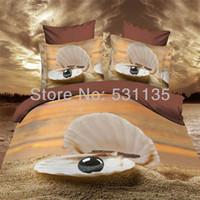 beach quilt fabric - Beach Shell d oil painting bedding set velvet duvet quilt cover comforters bed sheet linen queen size