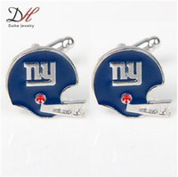 Wholesale Daihe Men Sports Jewelry New York Football Team Cufflink Rhodium Plated Metal Cufflinks For Shirts