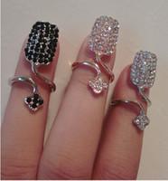 Wholesale Full diamond Finger Nail Ring Tip Jewelry Rings For Women flower ring