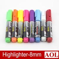 Wholesale 8pcs set quot CKS WINDOW MARKER quot Fruity Color Oblique Head Highlighter Pen Marker Pen colors