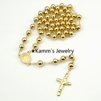 rosary for man - Gold Beads mm Big Stainless Steel Religous Rosary Cross Necklaces gold chain for men For Women k Real Filled Jewelry BRN49
