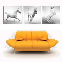 Wholesale Large Piece Artwork - 3 Pieces Modern Canvas White Horse Animal Oil Painting Pure hand-painted Large Wall Artwork For Living Room Decorative Pictures
