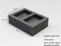 Wholesale 2 rect cavities graphite ingot mold for oz gold or oz silver casting gold melting crucible Mould to Melt Scrap Gold
