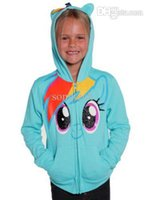 Cheap Wholesale-Girls My Little Pony Rainbow Blue Glitter Zip Hoodie Kids Sweatshirt Tops 218