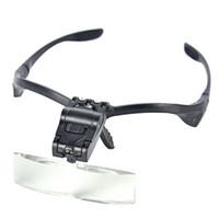 Lupas De Aumento 5 Lentes 1.0X ~ 3.5X Folding Mira Auriculares Lupa Lupa Lámpara Lupa con LED Eyelash Luces de extensión
