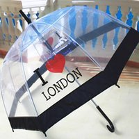 Wholesale Personality Novelty Print Transparent Thicken PVC Long handle Umbrella For Rain And Sun Umbrellas KT0045 kevinstyle