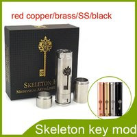 Wholesale Newest skeleton key mods Stainless steel brass red copper thread match battery mods colors via DHL free