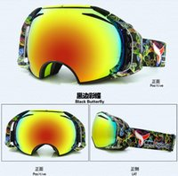 Wholesale 2015 New Anti fog Spherical Womens Mens Ski goggles Camo Single Layer UV400 Wind proof Snow Goggles Unisex Motocross Goggles