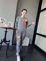 basketball embroidery designs - Unique Design Embroidery Phoenix Two Pieces Top and Pants Black Gray Color Knitted Sweater Pant Sets O Neck Long Sleeve Fashion Clothes