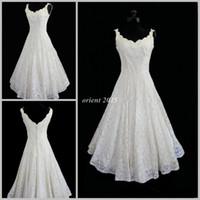 Wholesale Plus Size New Lace V neck Sexy Tea Length Short Beach Wedding Dress Actual Imagine A line Sleeveless Bridal Wedding Gown