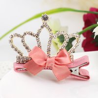 Wholesale Baby girl crown girls hair hairpin children act the role ofing is tasted girl bowknot hairpin crystal
