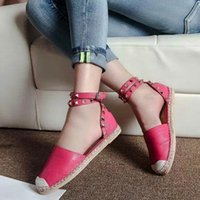 Wholesale 2015 New summer women s leather flat sandals straw bottom rivets shoes