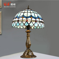 artistic table - Tiffany Stained Glass Retro Lighting Mediterranean Style Artistic Minimalist Desk Lamp For Study Bedroom Table Lamp Bedside Lamp Dia cm