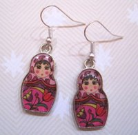 antique russian earrings - Fashion Hot Pair Antique Silver Alloy Retro Cute Russian Dolls Pink Earrings Pendant DIY Jewelry E7483