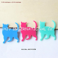 Wholesale colors mm Acrylic Halloween Cat Brooches Dark Pink Aqua Turquoise inches AC1137B