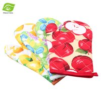 kitchen oven gloves - 2pcs Printed Cotton Kitchen Oven Mitts Cooking Tools Thicken Microwave Oven Gloves dandys