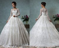 Cheap Diana Wedding Dresses Amelia Sposa KR 2015 Ivory Long Sleeves Ball Gown Sheer Scoop Neckline Lace Bridal Gowns Covered Button Court Train