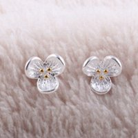 beauty gift certificates - gift certificate genuine S925 silver small fresh clover Earrings Korean jewelry only a beauty
