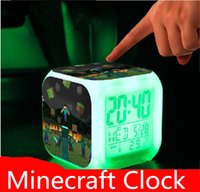 Wholesale Minecraft Alarm Clock LED Colorful Clock LED Colors Change Digital Alarm Clock Night Colorful Changing Toys Digital Alarm Clock Minecraft