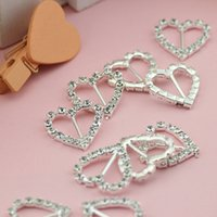 Wholesale 10pcs Rhinestone Heart Buckle Sliders For Clothes Bags and Handlace DIY Clothes Decorative Buttons