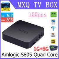 Wholesale Original MXQ TV BOX Amlogic S805 Mini PC Quad Core Android Kitkat K HDMI H GB GB XBMC WIFI Airplay Miracast D DHL Free
