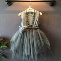 Wholesale Girls Dress for Kids Lace Tutu Christmas Dresses New Summer Autumn Cotton Fashion Bow Flowers Kids Princess Party Dress LL