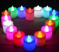 Wholesale LED Electronic candle LED Tealight Tea Candle Light Smokeless flameless Colorful Battery Candles Wedding Birthday Party Night lights