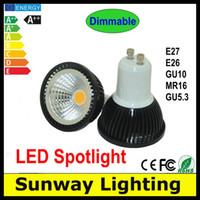 Wholesale Cree LED Spotlight W W W GU10 E27 E26 MR16 GU5 LED Bulb dimmable AC85 V DC V LED COB Spotlight