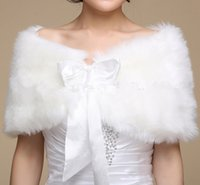 faux fur - Cheap Faux Fur Wedding Dresses Wraps Shrug Bridal Gowns Warm Shawls Stole Cape Stock Bolero For Ladies Formal Wear Ribbon Tie Bow