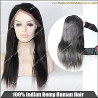 Wholesale Natural Black Can be dyed Yaki Straight Human Hair Indian Remy Lace Wigs Hair Products Queen Hair quot Wig New Fashion Style HOT Natural