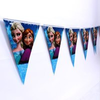 Wholesale 10pcs set M Long Frozen Elsa and Anna Design Colorful Flags Pennants Hang Ornament For Kids Birthday Party Decoration Supplies