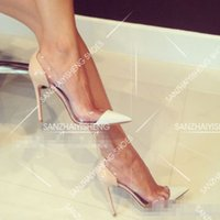 Wholesale 2015 Spring star models sexy transparent thin heels pointed high heeled shoes nightclub shoes wedding shoes spring shoes Item