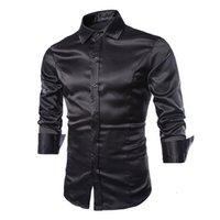 Cheap New 2015 Brand Fashion Mens Long Sleeve Silk Dress Shirts Male Casual Social Shirt Slim Fit Camisa Masculina 1401C54 35