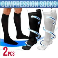 Wholesale 2016 PAIR of white or black compression socks in sizes available unisex miracle socks Socks Anti Fatigue Compression Christmas Stocking