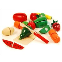Wholesale Christmas gifts New Children Wood Kitchen Toys Colorful Pretend Toys Educational Cut Toys for Kids Baby Cut Fruit Vegetable High Qulit