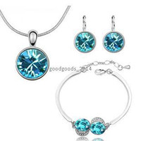 aqua diamond jewelry - Austrian crystal large round crystal jewelry sets earrings bracelet diamond and necklace color Optional z031