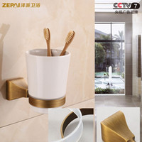 antique glass tumblers - European antique full copper and gold square toothbrush holder Tumbler holder brush cup glass ceramic cup single cup holder