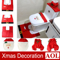 bauble box - Christmas Santa Bathroom Toilet Seat Cover Tissue Box Rug Bathroom Set Holiday New Year Party Supplies Baubles Decoration
