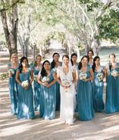 Wholesale Elegant Long Bridesmaid Dresses Ruffle Sweetheart Neck Cap Sleeves Floor Length Chiffon Formal Evening Gowns Prom Dresses Cheap