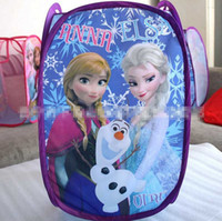Wholesale 3 Designs Girl Frozen Elastic force Laundry basket NEW lovely cartoon elas anna Frozen Sisters Forever Pop Up Hamper bags B001