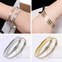 bezel settings wholesale - New Arrivals Lady Women Gold Plated Charm Bangle Bracelets as a set Silver Hoop Jewelry Gift Alloy Fashion GA2