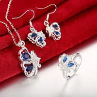 Wholesale 925 Sterling Silver Butterfly Sapphire Crystal Flower Zircon Necklace Earrings Ring For Women s Engagement Wedding Bride Jewelry Sets