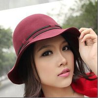 Wide Brim Hat hat lady red - Fashion Women Woolen Wide Brim Hats Outdoor Lady Wine Red Casual Travel Sun Caps DUL1