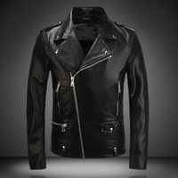 argyle plaid - super quality New Leather Jacket Fashion Mens Diagonal Zipper Slim Black Pu Leather Jackets Men Brand Biker Jacket